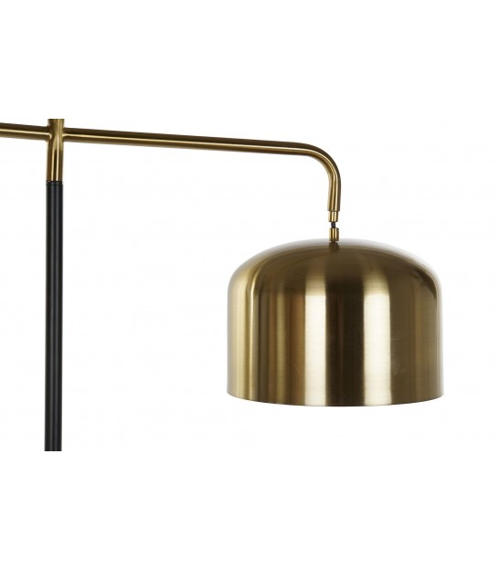Floor Lamp Gold Brass with Black Marble Base