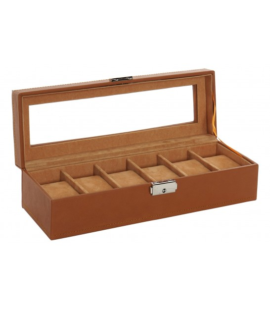 Watch Box Organizer Fake Leather Brown