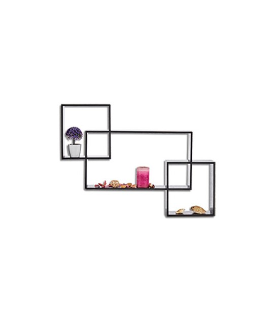 Set of 3 Wall Wood Shelves Black