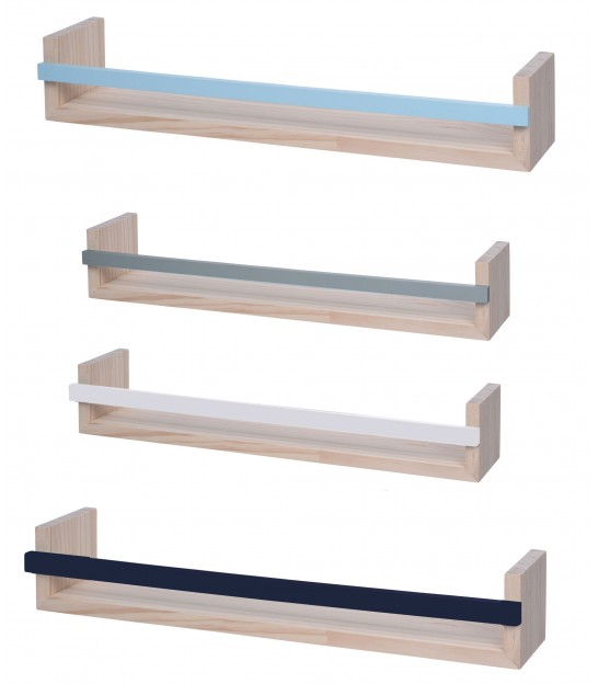 Set of 4 Shelves MDF Grey, Blue, Green