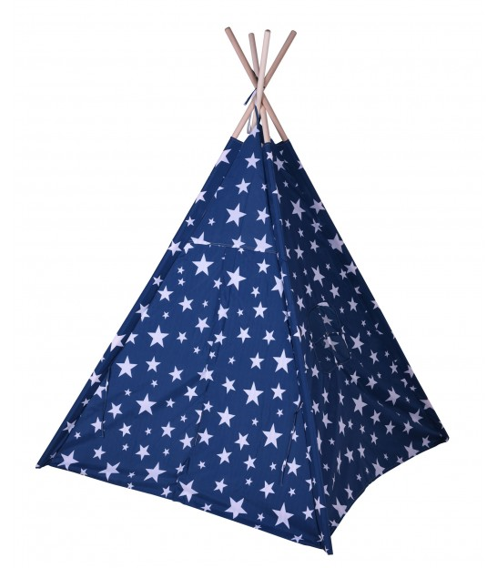 Children's Tipi White Cotton and Wood