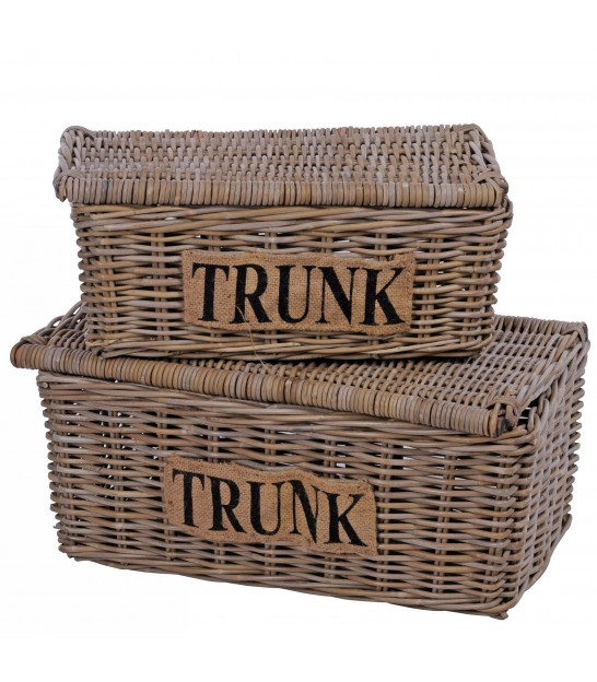 Set of 2 Storage Trunks Rattan Kubu Trunk