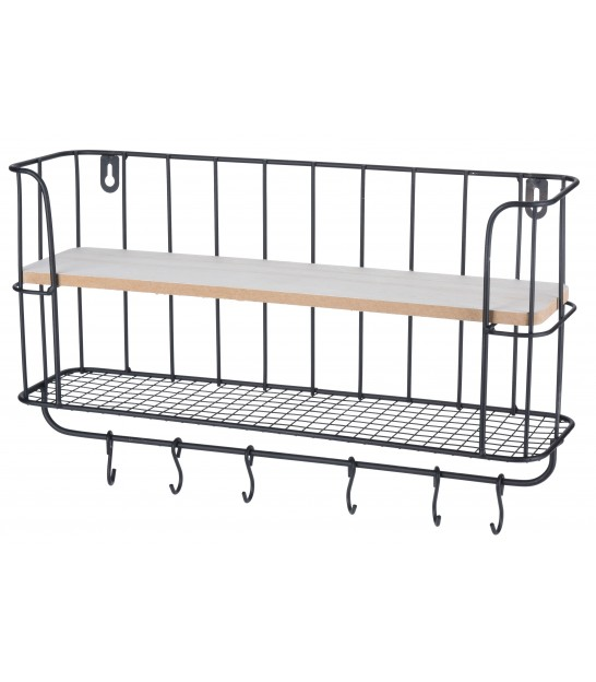 Wall Shelf Metal and Wood with 3 Hooks
