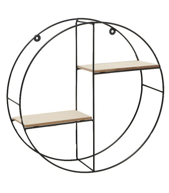 Round Wall Shelf Black Metal and Wood MDF