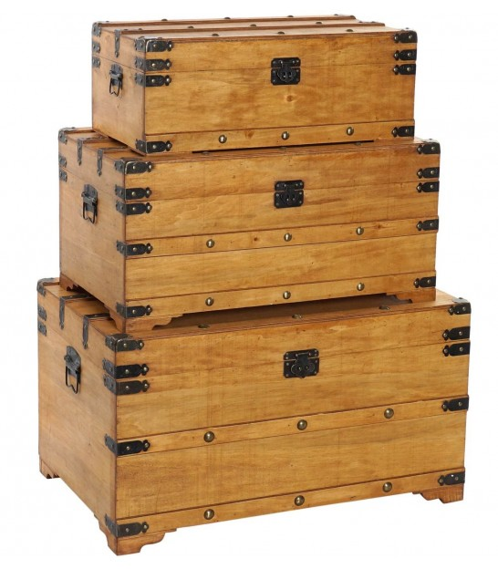 Set of 3 Wood Storage Trunks Brown