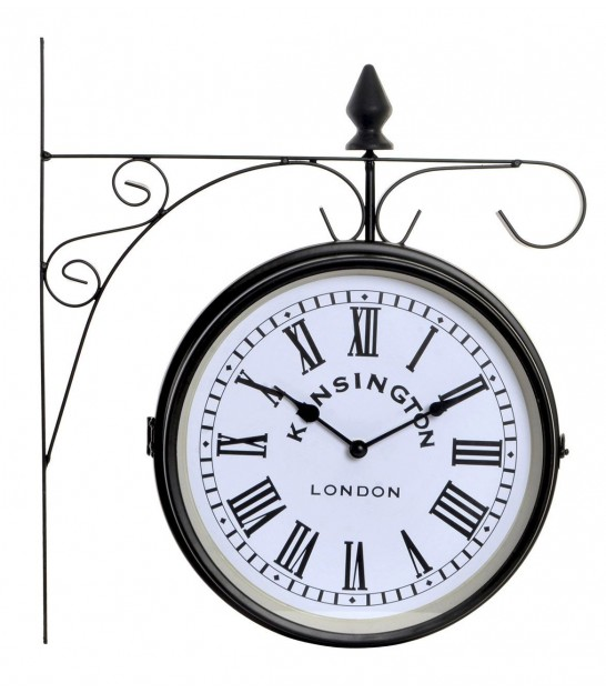 Round Clock Black Metal and Wood Industrial Style - 40cm