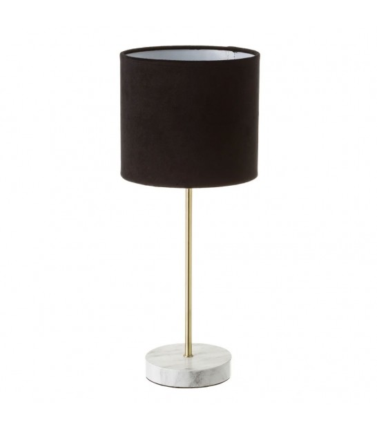 Table Lamp Blue Velvet and Transparent Glass Base - Height 29cm
