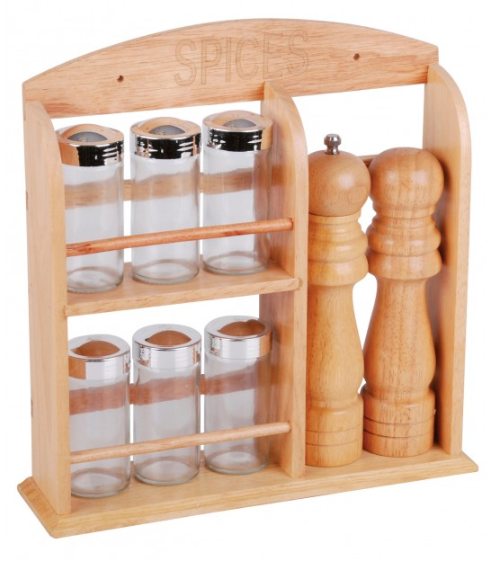 Wall Spice Rack Wood with 6 Spices Pots and 2 Mills