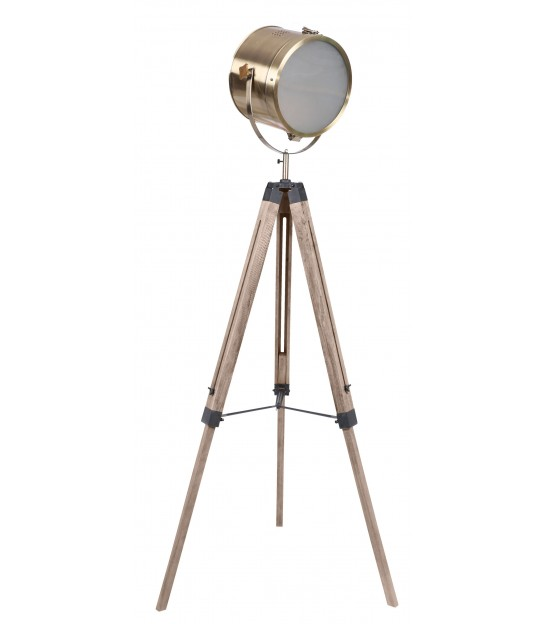 Floor lamp Tripod Wooden and Shade Canvas Beige