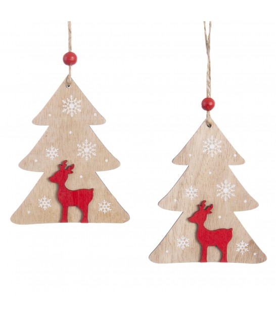 Christmas Tree Decoration Horses Wood - Set of 2