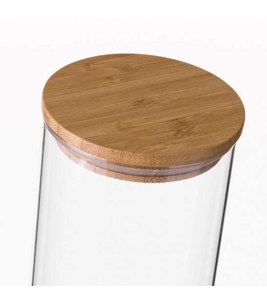 Kitchen Glass Jar Bamboo Lid - H12cm