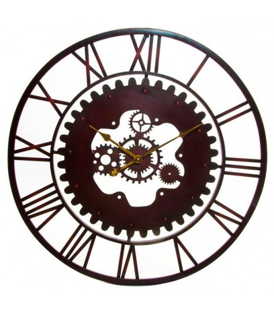 Wall Clock Brown Garnet Gearing - 80cm