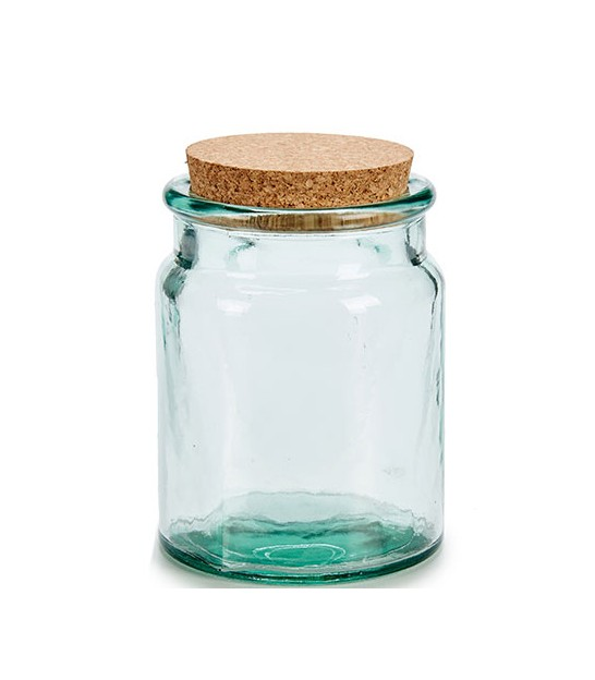 Round Kitchen Recylcled Glass Jar Cork Lid - H15cm