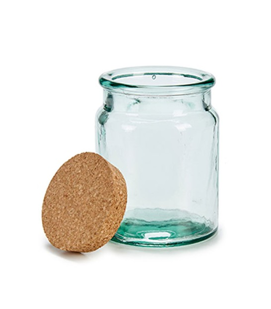 Round Kitchen Recylcled Glass Jar Cork Lid - H19cm