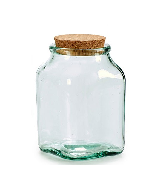 Square Kitchen Recylcled Glass Jar Cork Lid - H14cm