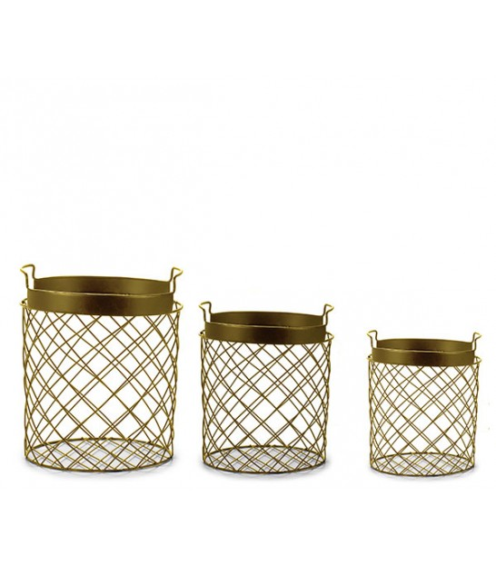 Set of 3 Round Golden Metal Baskets
