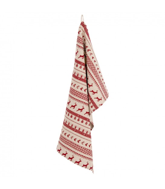 Tea Towel 100% Cotton Red and Beige