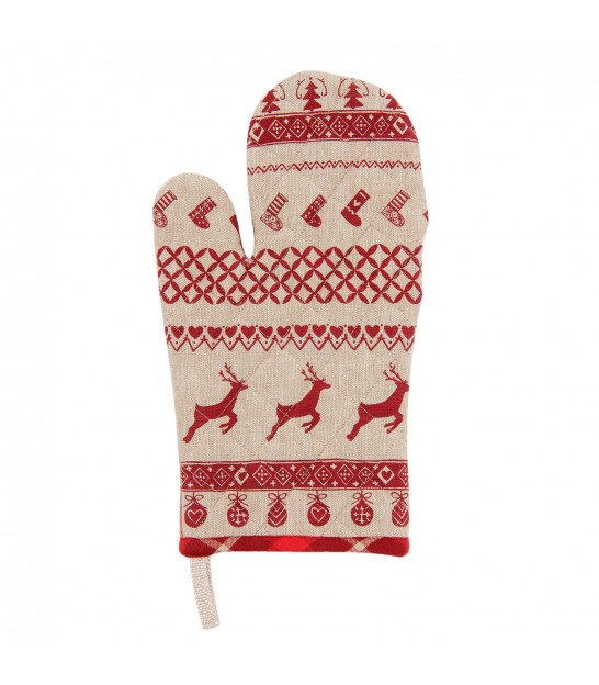 Oven Mitt Beige and Red Mountain