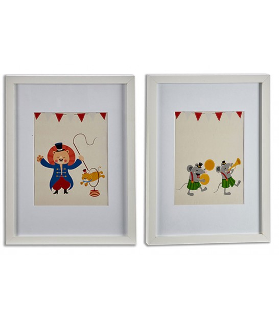 Set of 2 Decorative Frame Kids Circus - 33x43cm