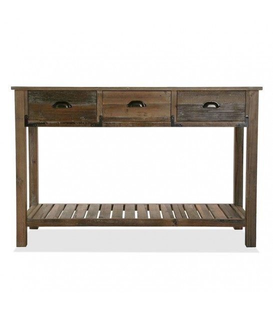 Entrance Console Table Pinewood 3 Drawers + 1 Shelf