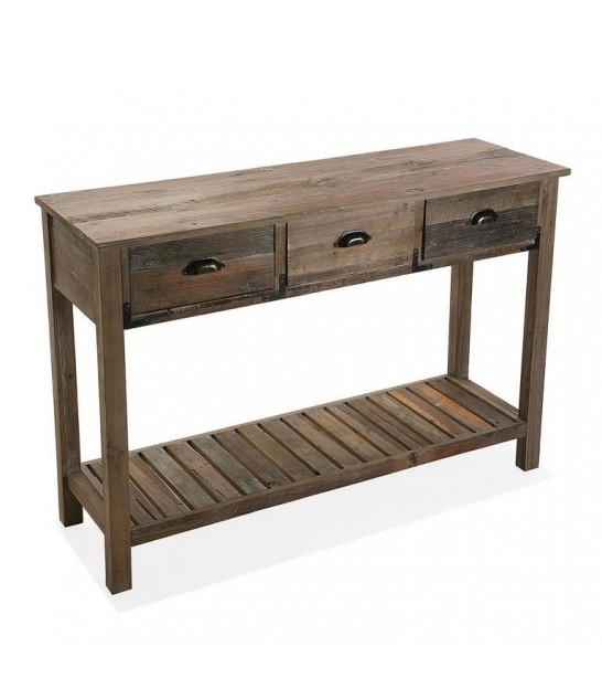 Entrance Console Table Wood Acacia 3 Drawers + 1 Shelf