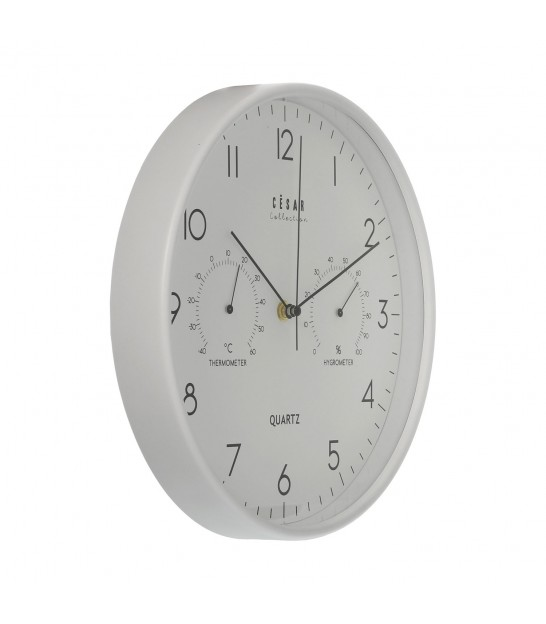 Round Wall Clock with Thermometer and Hygrometer