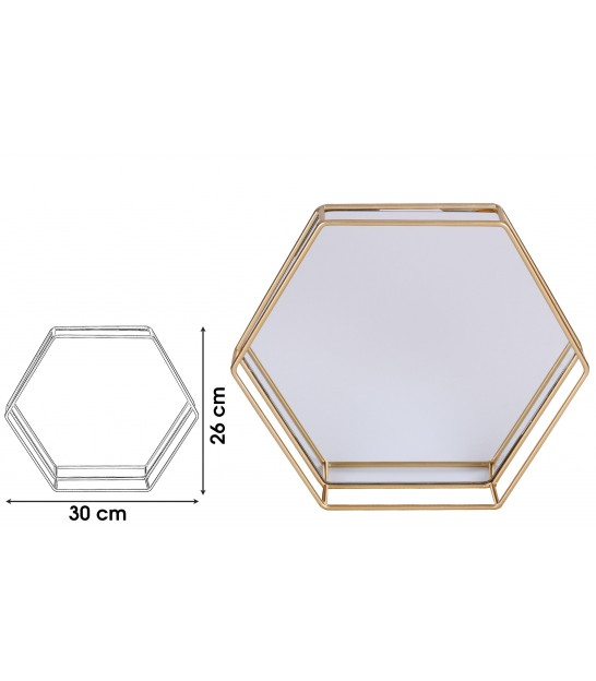 Golden Tray with Mirror Polygon