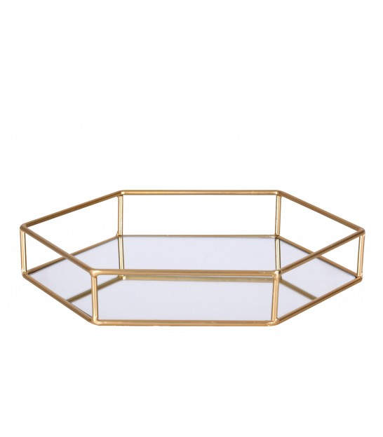 Golden Tray with Mirror Polygon - 30x26x5cm