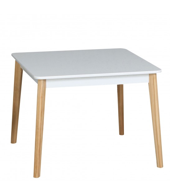 Child Square Table White and Wood