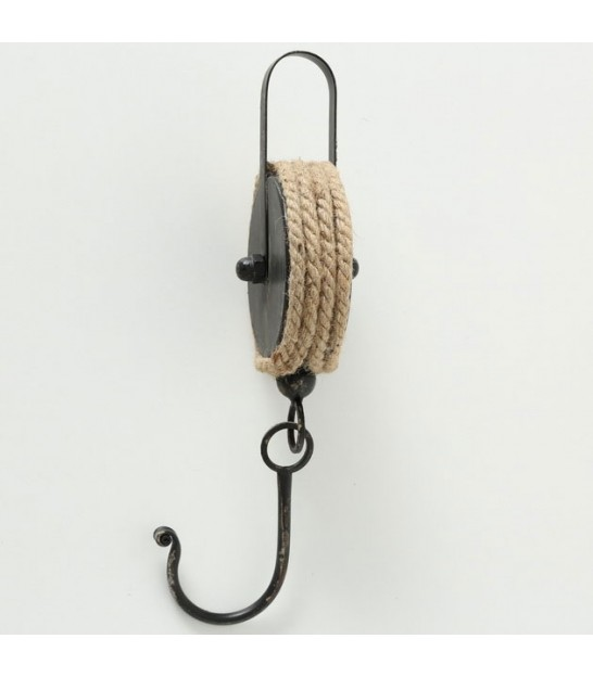 Black Metal and Rope Industrial hook