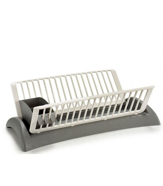Dish Rack Grey and White Plastic