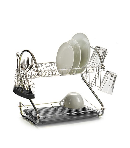 Grey Double Dish Rack