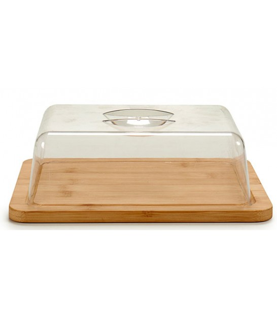 Round Bamboo Cheese Tray and Acrylic Bell