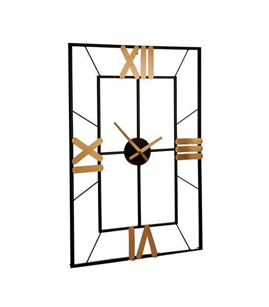 Rectangular Wall Clock Golden and Black Metal - 70cm