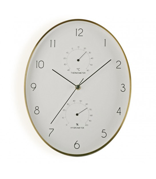 Round Wall Clock with Thermometer and Hygrometer White