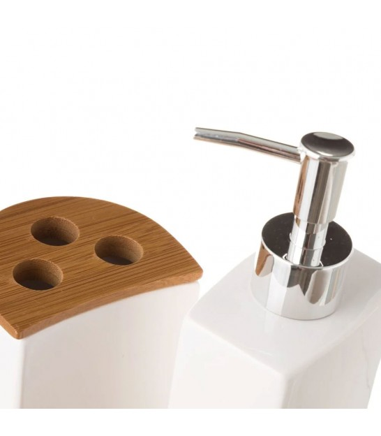 Bathroom Set - White Ceramic and Bamboo