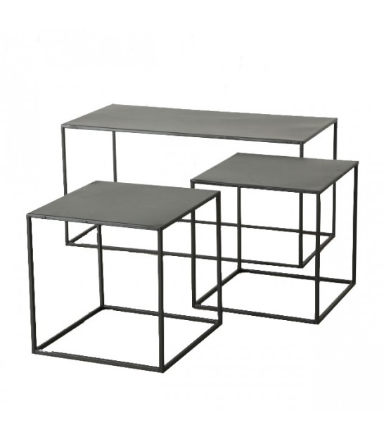 Set of 3 Black Metal Nesting Tables