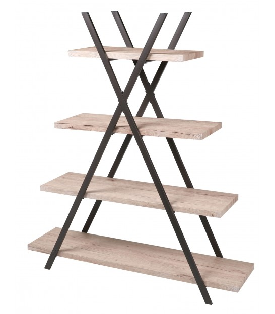 Bookcase Wood MDF and Black Metal