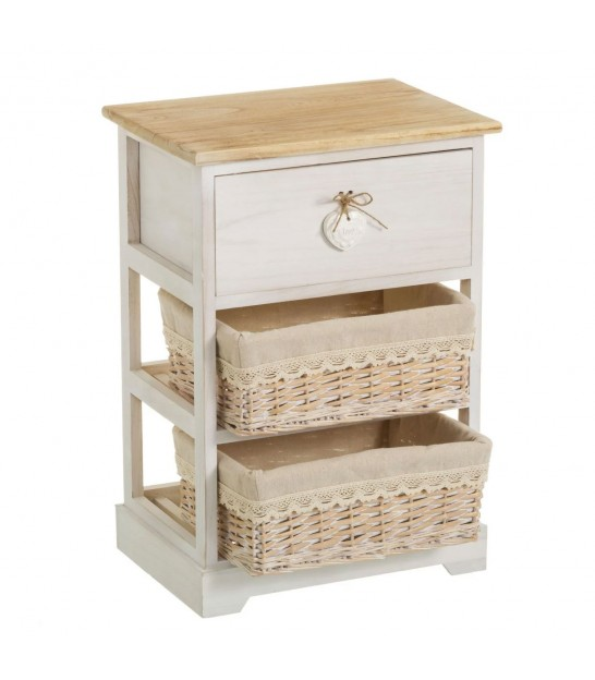 Nighstand Wood 1 Drawer + 1 Basket
