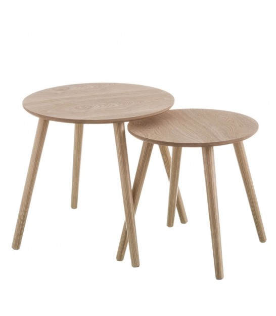 Set de 2 Tables Basses Rondes en Bois MDF