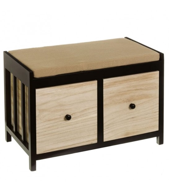 Bamboo Bench Beige Tissue with Shoes Shelf