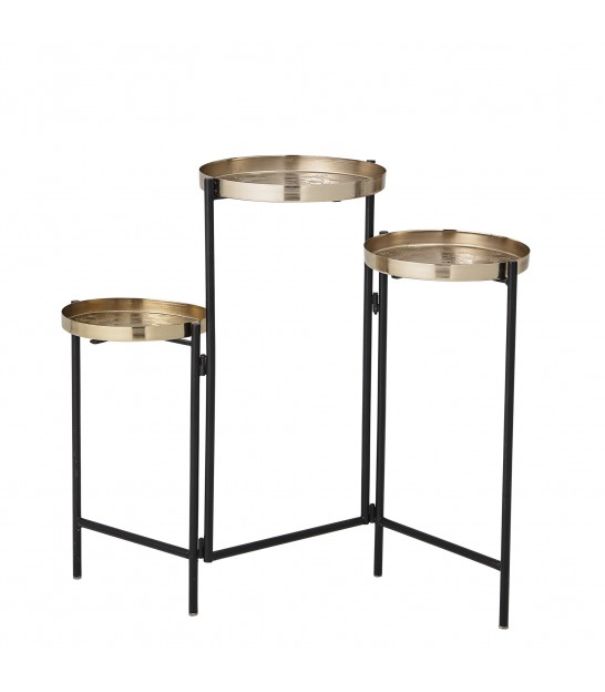 Triple Plant Pot Stand Black and Gold Metal