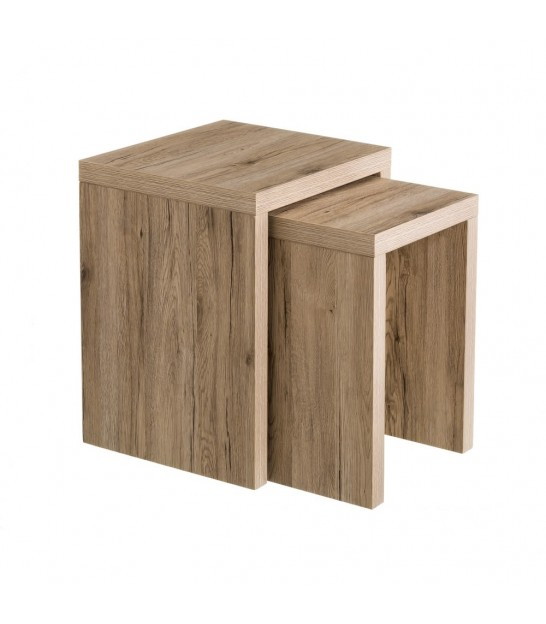 Set de 2 Tables Basses Gigognes en Bois MDF