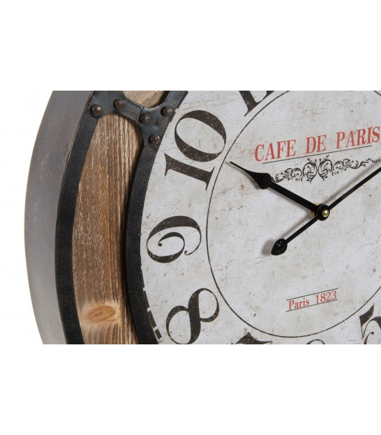 Wall Clock Wood, Metal and Glass - 72cm
