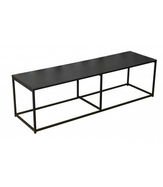 TV Stand Wood MDF and Black Metal on Wheels