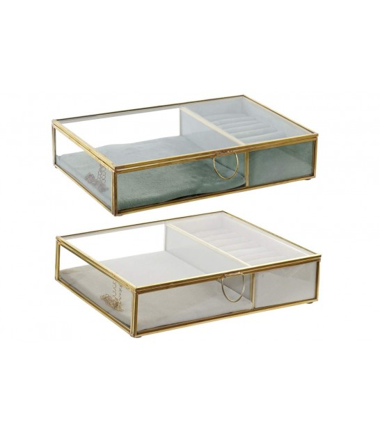 Jewelery Box Golden Metal and Glass - Set of 2
