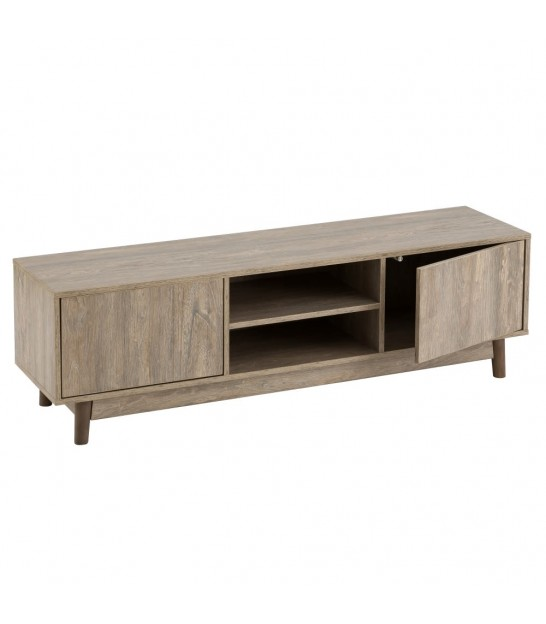 TV Stand Wood MDF and Black Metal 2 Drawers