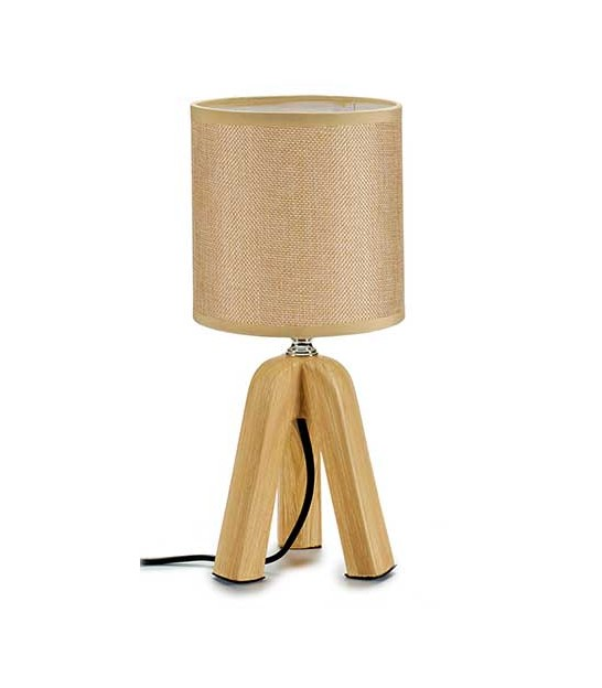 Table Lamp Red Lampshade and Metal - H45cm