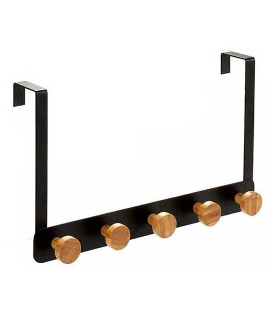 Door Coat Rack Black Metal and Bamboo