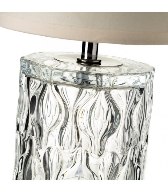 Table Lamp Grey and Transparent Glass Base - Height 29cm